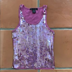 Junior's Pink Sequin Stretch Tank Top | Medium